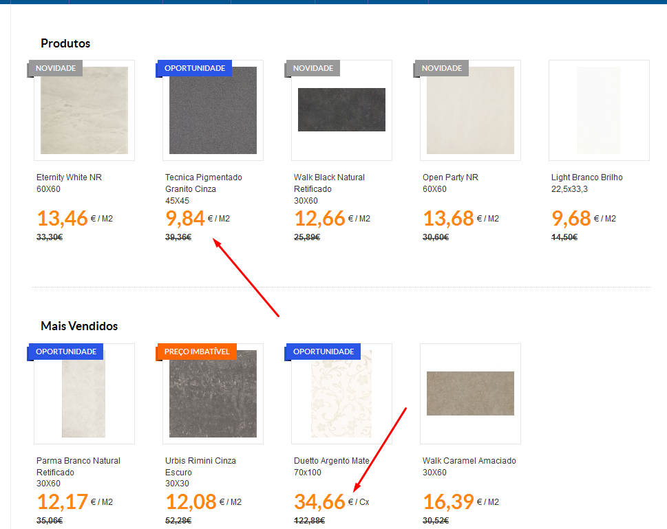 Exemplo descontos da Outlet Ceramic Tiles