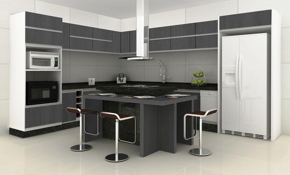 Cozinha Com Ilha - Placa ao Centro + Zona de Refeição